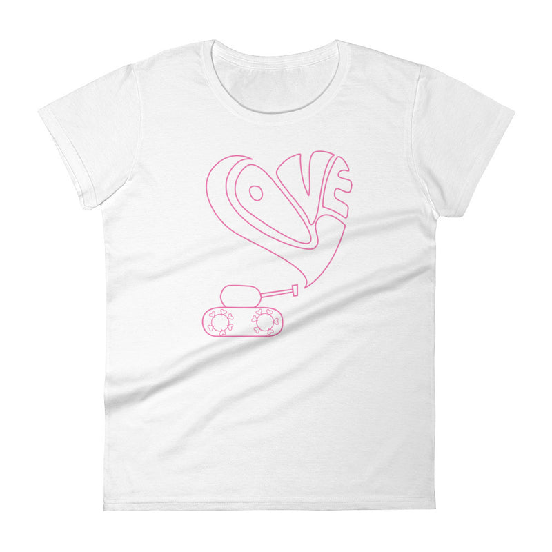 Short sleeve t-shirt with pink love tank graphic for 29.95 at ARMY PINK