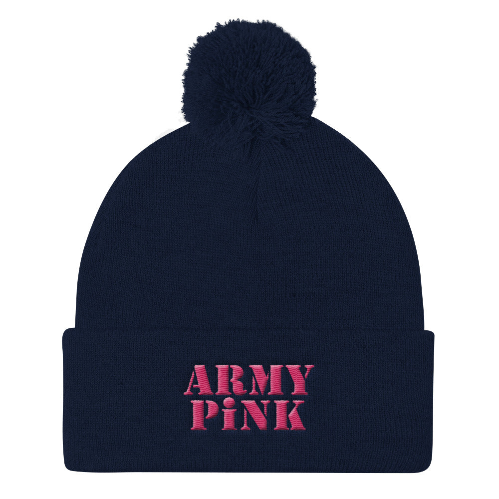 Embroidered Pom Pom Knit Cap for 20.00 at ARMY PINK