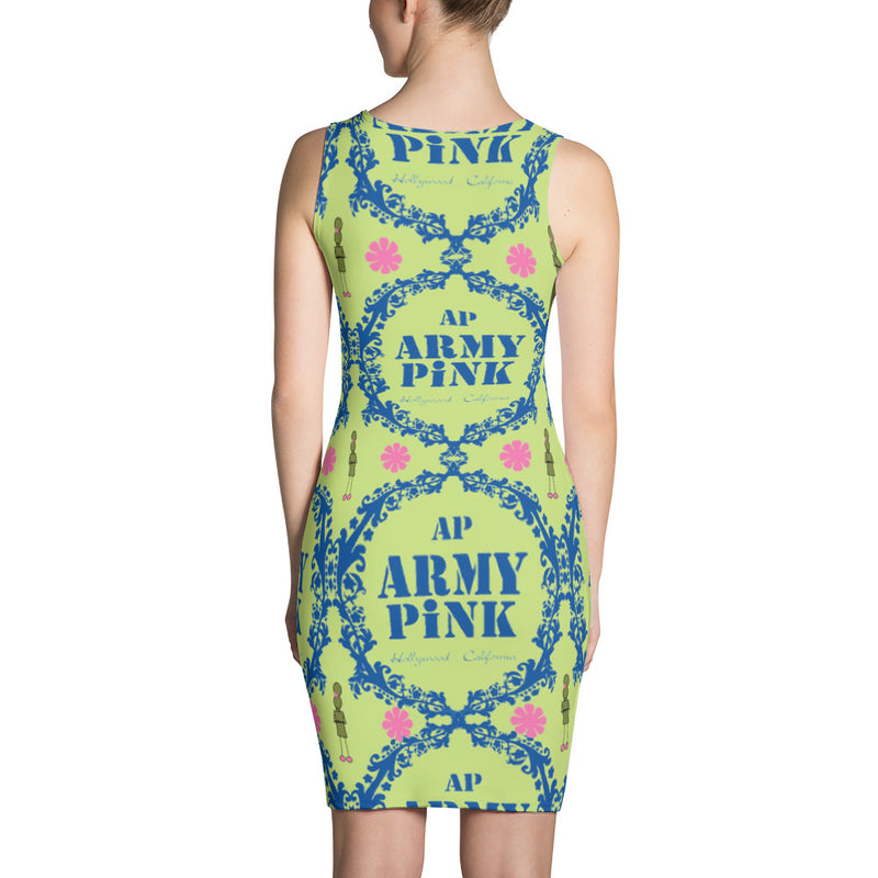 Blue wreath tank dress in green for 44.00 at ARMY PINK