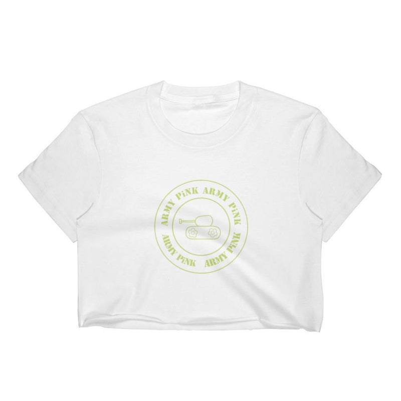 Green round logo Crop Top for 24.00 at ARMY PINK