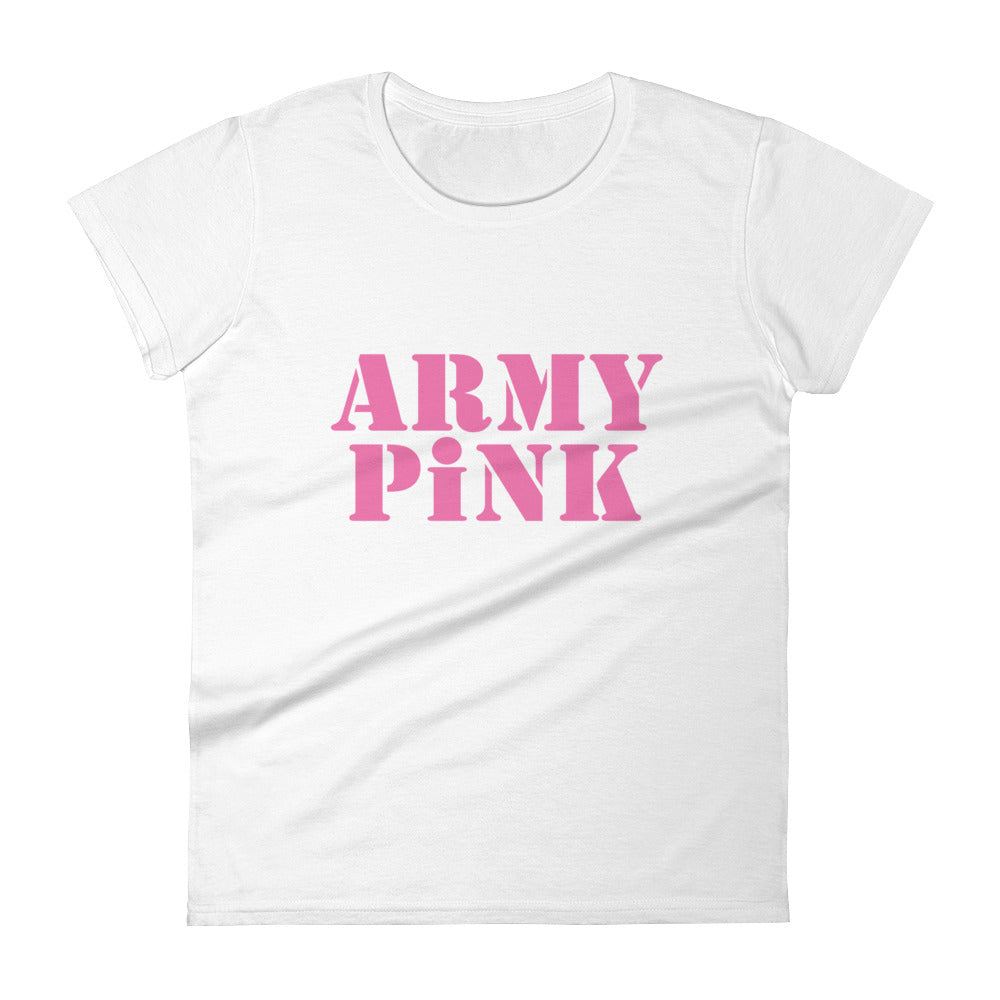 Short sleeve t-shirt with pink logo for 29.95 at ARMY PINK