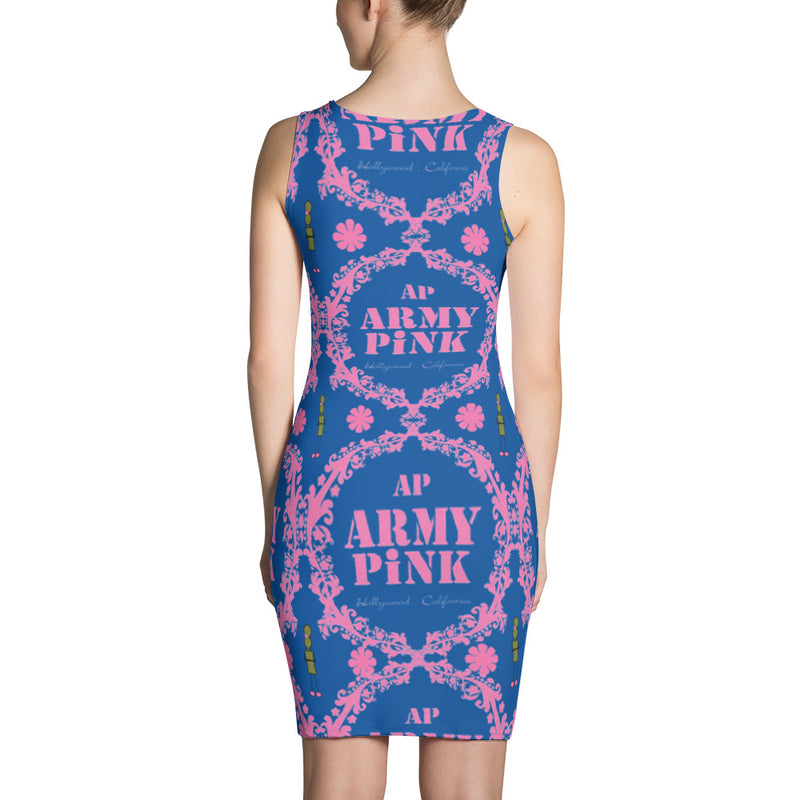 Pink wreath tank dress in blue for 44.00 at ARMY PINK