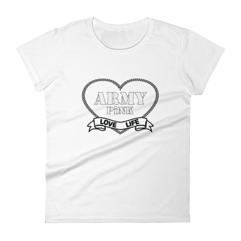 Short sleeve t-shirt with black heart graphic for 29.95 at ARMY PINK