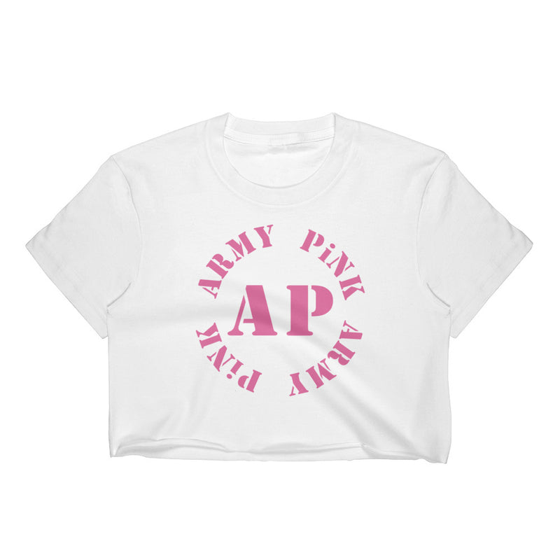 Crop Top with pink AP round logo for 29.95 at ARMY PINK