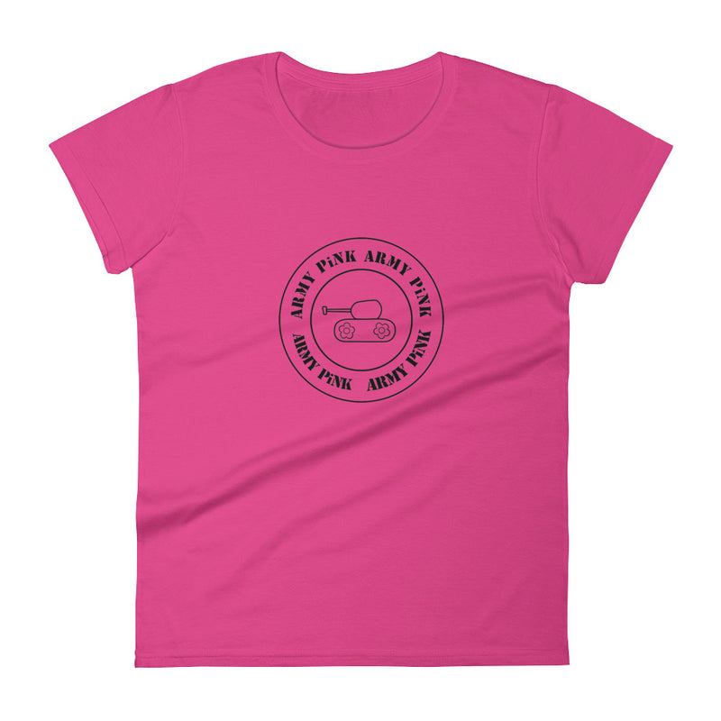 Short sleeve t-shirt with black round logo for 29.95 at ARMY PINK