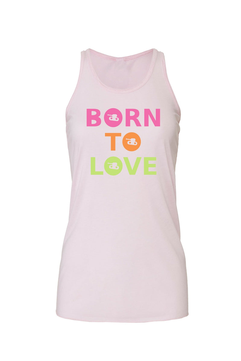 Pink Flowy Racerback Tank with bright born to love graphic for 34.00 at ARMY PINK