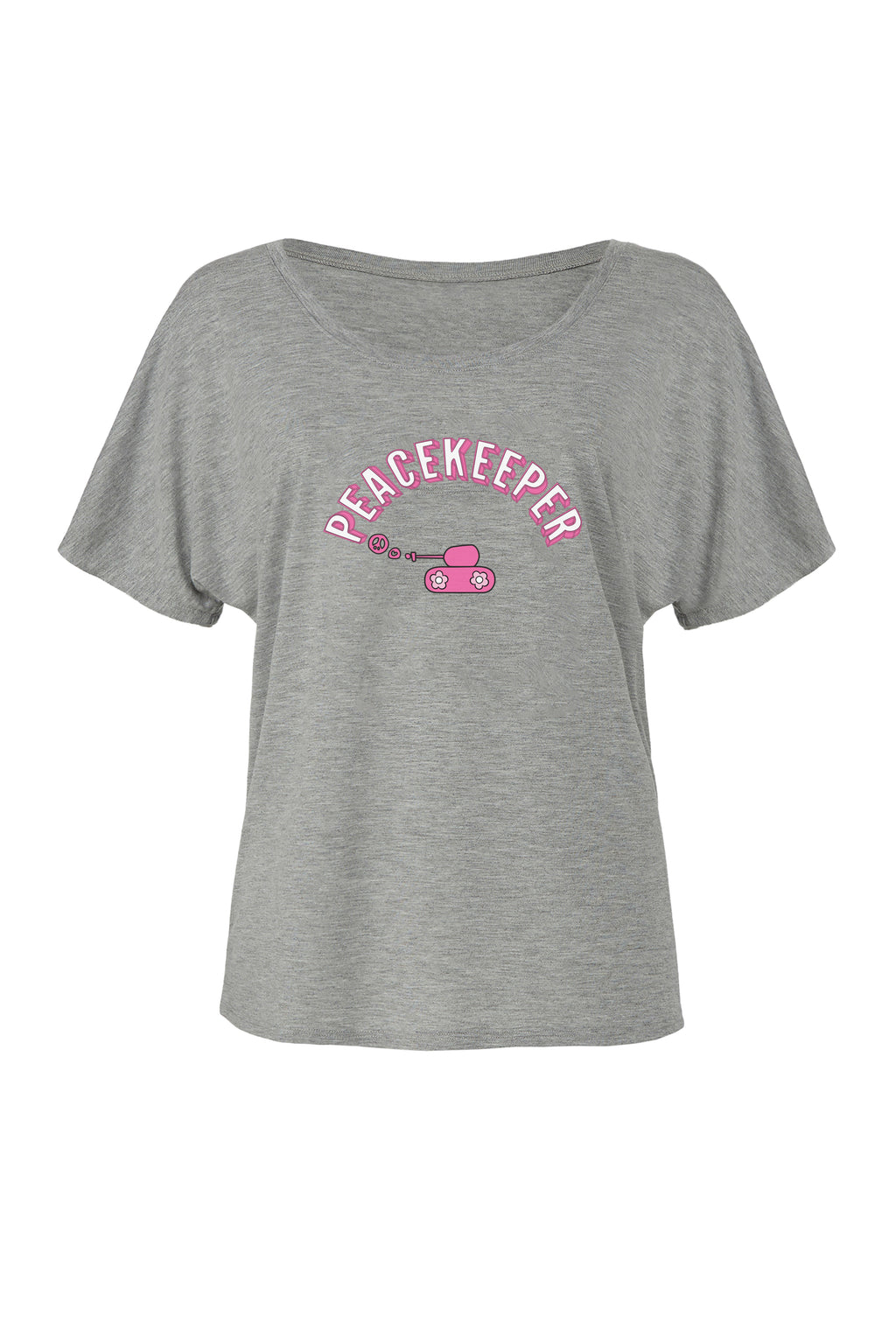 Athletic Heather Slouchy T-shirt with pink peacekeeper graphic for 34.00 at ARMY PINK