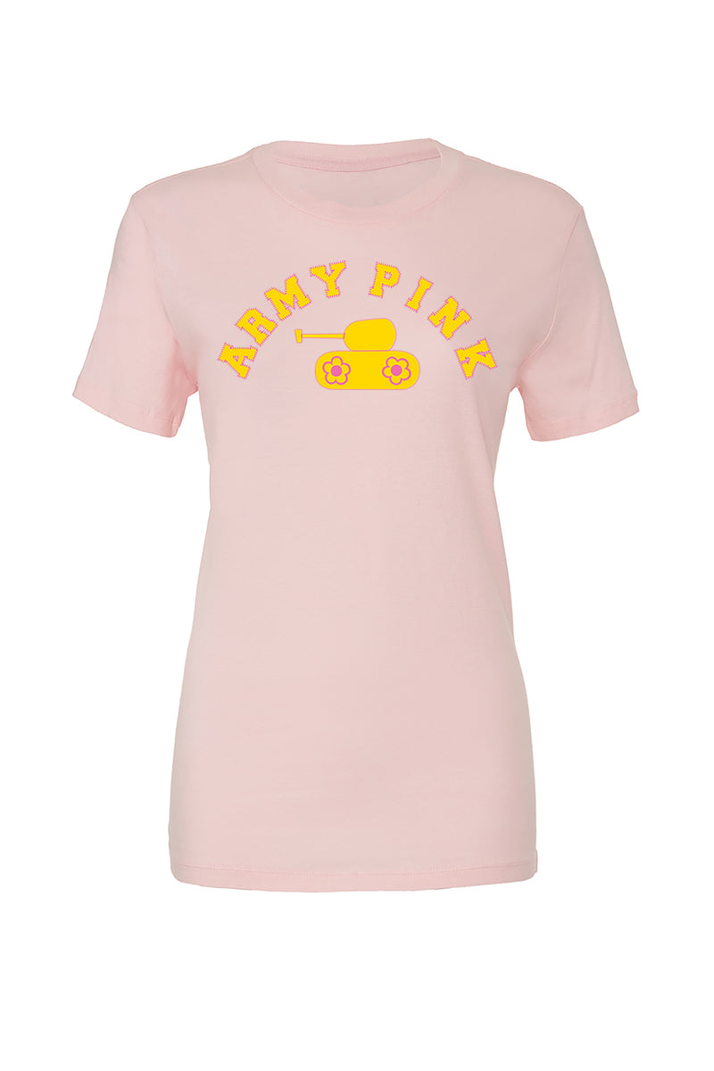 Pink T-Shirt with yellow arch tank graphic for 30.00 at ARMY PINK