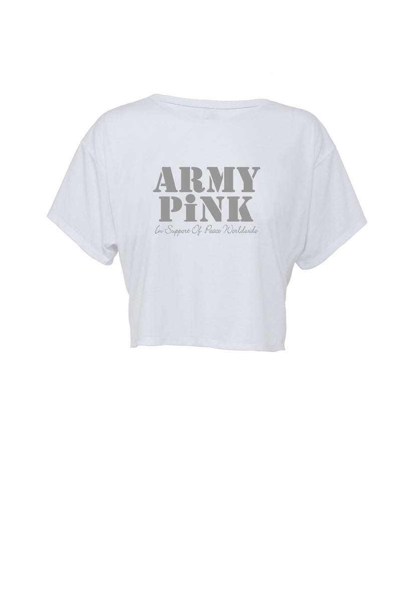 White Flowy Boxy tee with gray Army Pink graphic for 30.00 at ARMY PINK