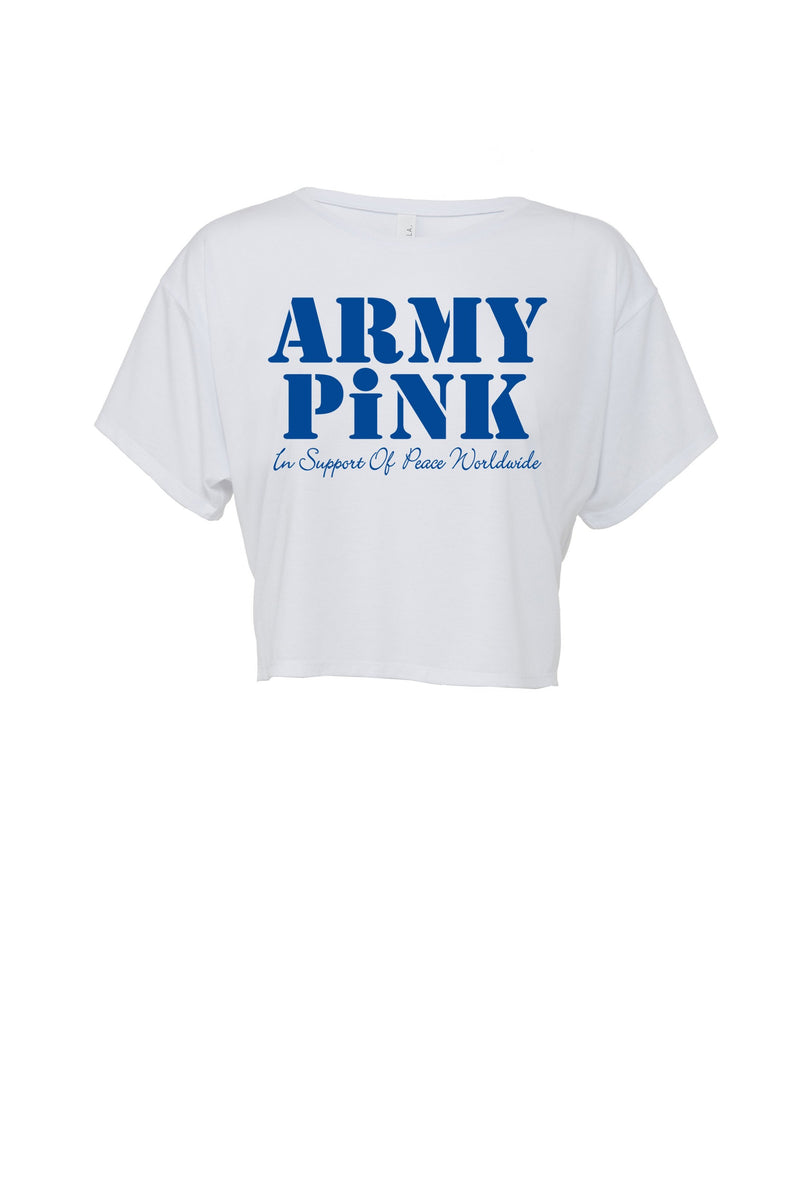 White Flowy Boxy tee with royal Army Pink graphic for 30.00 at ARMY PINK