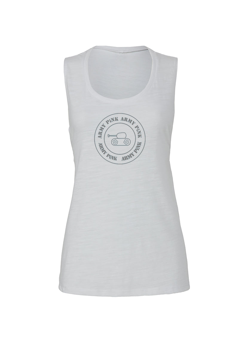 White Scoop Muscle Tank with gray round tank graphic for 36.00 at ARMY PINK