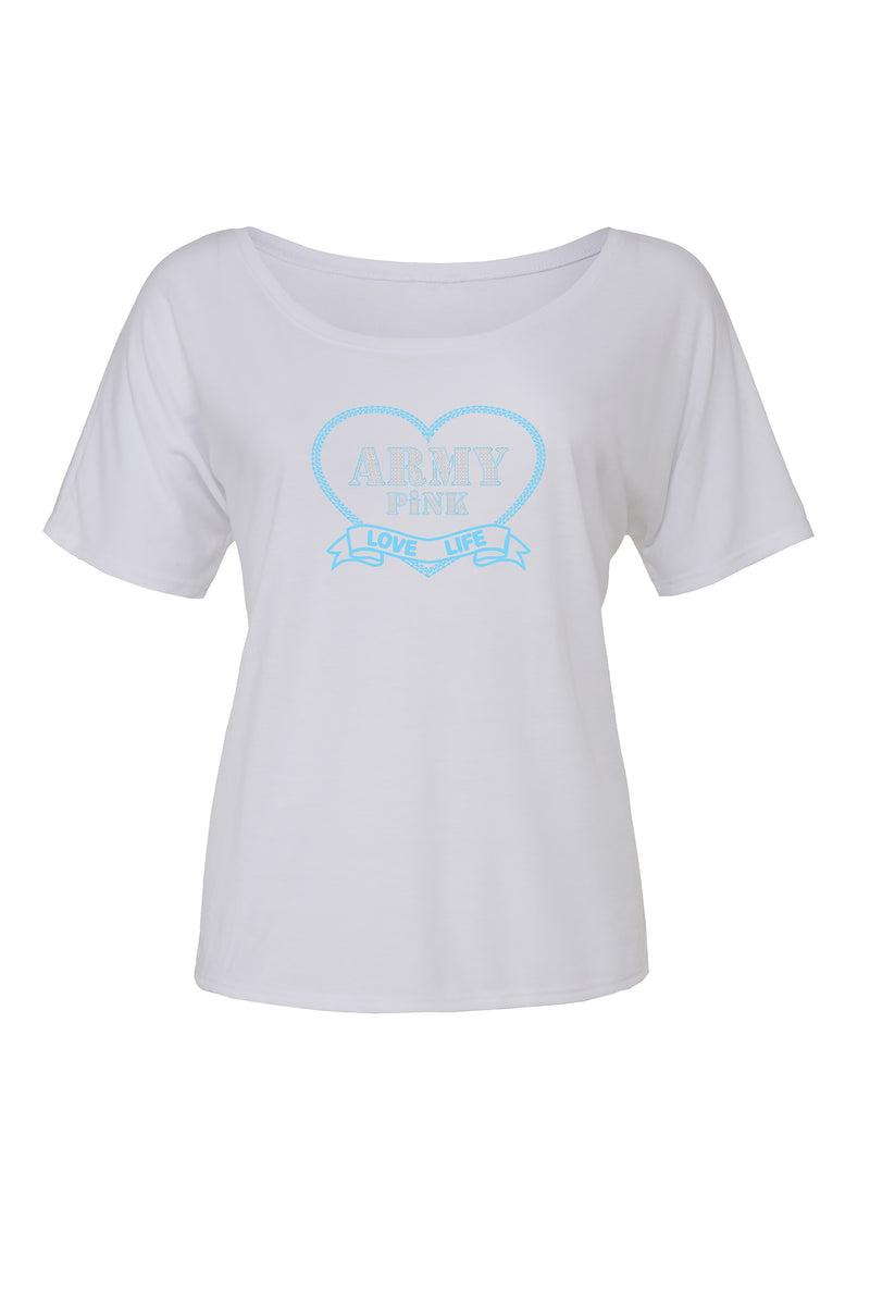 White Slouchy T-shirt with blue love life heart graphic for 34.00 at ARMY PINK