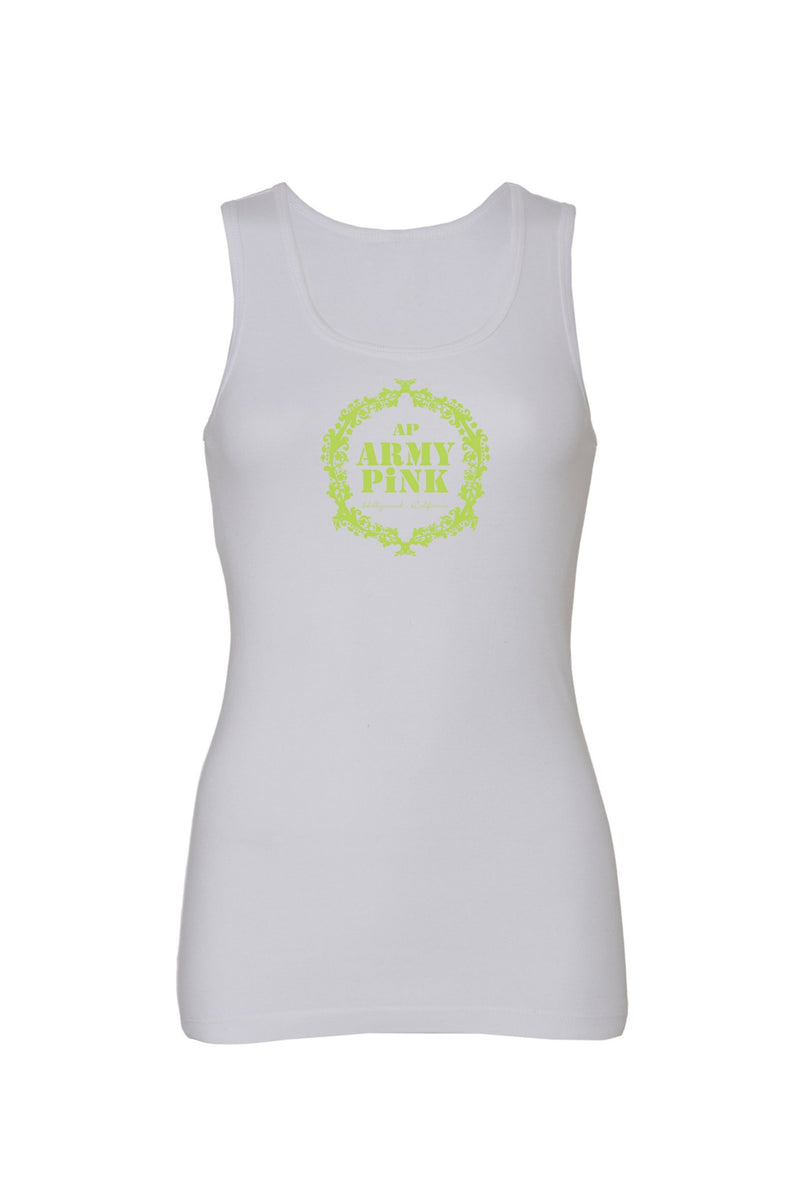White Tank Top with green wreath graphic for 28.00 at ARMY PINK