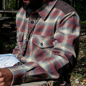 Kirsch Supply Co Meriwether Moleskin Flannel Shirt Sitting at Map