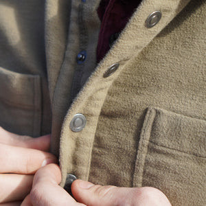 Kirsch Supply Co Rivet Stretch Moleskin Popover Shirt Buttoning up
