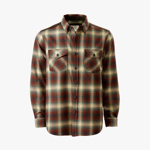 Kirsch Supply Co Meriwether Moleskin Flannel Shirt Rust Brown Multi Front