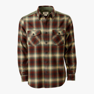 Kirsch Supply Co Meriwether Moleskin Flannel Shirt Rust Olive Multi Front