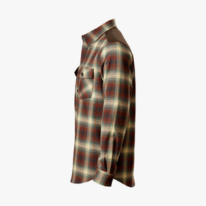 Kirsch Supply Co Meriwether Moleskin Flannel Shirt Rust Brown Multi Side