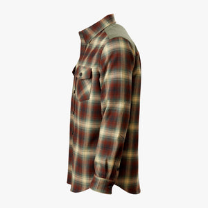 Kirsch Supply Co Meriwether Moleskin Flannel Shirt Rust Olive Multi Side
