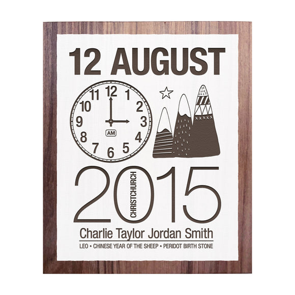 Birth Date With Mountains - Personalised Recycled Rimu Wall Art