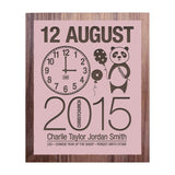 Birth Date With Panda - Personalised Recycled Rimu Wall Art