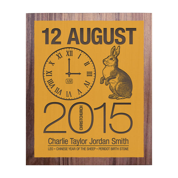 Birth Date With Rabbit - Personalised Recycled Rimu Wall Art
