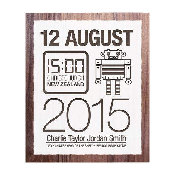 Birth Date With Robot - Personalised Recycled Rimu Wall Art