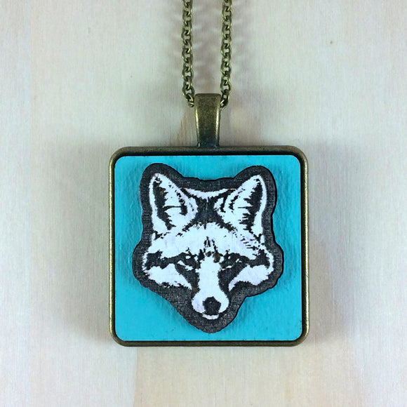 Laser Cut Fox Pendant, gulf blue