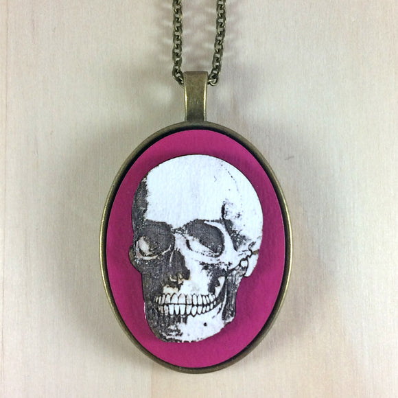 Laser Cut Skull Pendant, white and pink