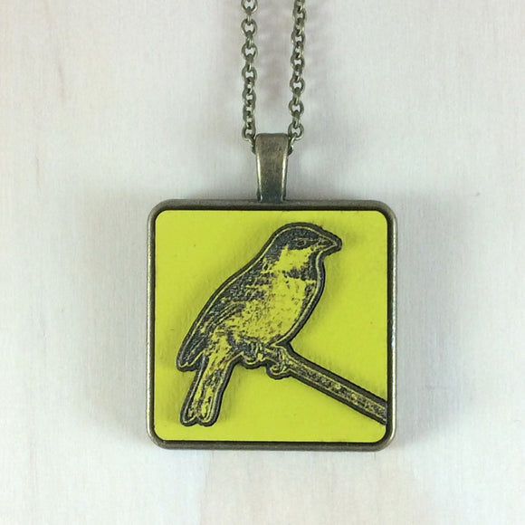 Laser Cut Sparrow Pendant, bright yellow
