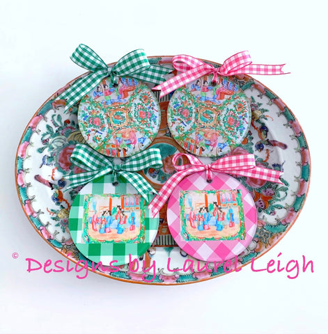 Chinoiserie Chic Double Happiness Christmas Ornaments