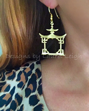 Load image into Gallery viewer, Chinoiserie Gold Pagoda Earrings - Ginger jar