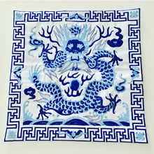 "Load image into Gallery viewer, Embroidered Blue and White Chinoiserie Dragon Pillow Covers - Set of Two 18x18"" - Ginger jar"