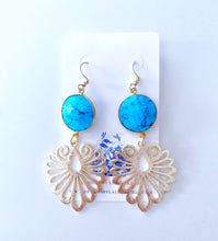 Load image into Gallery viewer, Gold Filigree and Turquoise Gemstone Earrings - Ginger jar