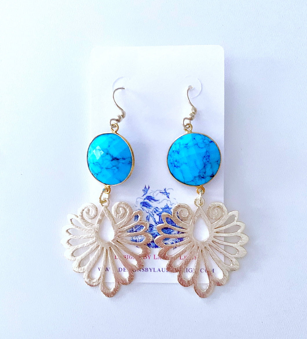 Gold Filigree and Turquoise Gemstone Earrings - Ginger jar