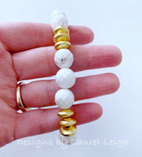 Load image into Gallery viewer, White Turquoise and Gold Beaded Bracelet - Ginger jar