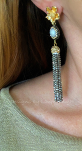 Dressy Floral and Pearl Beaded Tassel Statement Earrings - Gold/Black Or Gold/Silver - Ginger jar