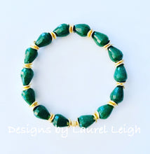 Load image into Gallery viewer, Gold & Green Jade Teardrop Statement Bracelet - Ginger jar
