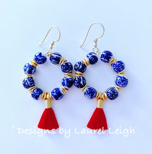 Load image into Gallery viewer, Chinoiserie Beaded Hoop Tassel Earrings - Red - Ginger jar