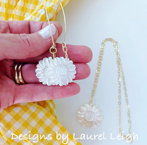 Mother of Pearl Sunflower Earrings - White & Gold