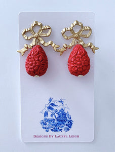 Red and Gold Bow Cinnabar Teardrop Earrings