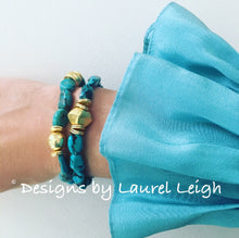 Load image into Gallery viewer, Turquoise Nugget and Gold Beaded Bracelet - Ginger jar