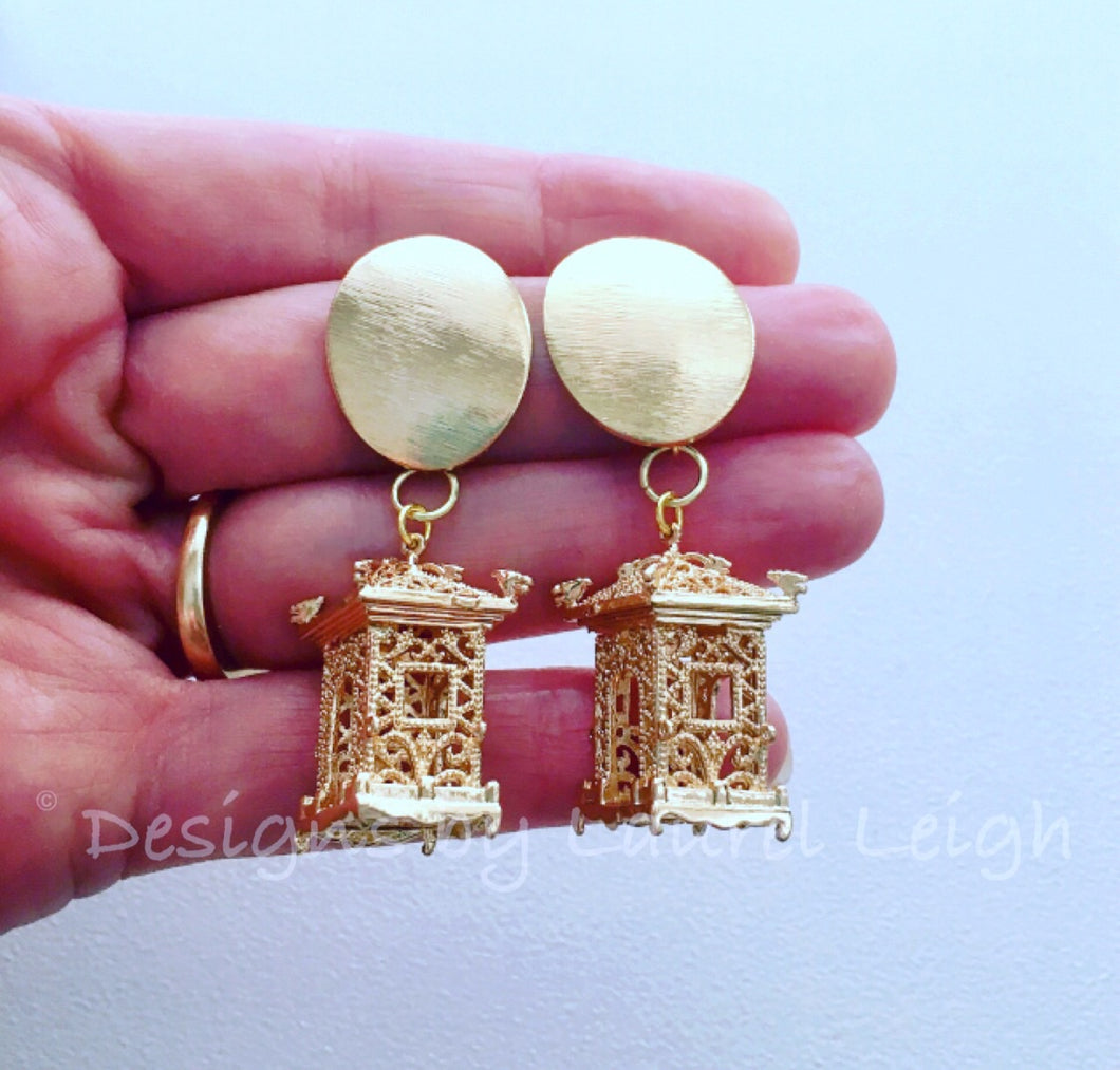 Chinoiserie Gold Pagoda Earrings - Posts - Ginger jar