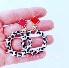 Load image into Gallery viewer, Red, Black & White Beaded Game day Beaded Hoop Earrings - Ginger jar