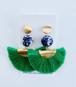Chinoiserie Peony Flower Fan Tassel Earrings - Green - Ginger jar