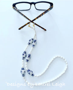 Chinoiserie Ginger Jar & Bamboo Eyeglass / Sunglass / Mask Holder / Lanyard Chain / Necklace