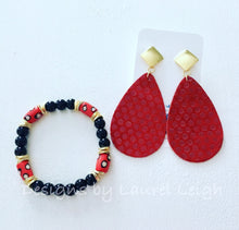 Load image into Gallery viewer, Leather Polka Dot Statement Earrings - Red - Designs by Laurel Leigh