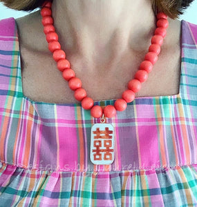 Orange & White Chinoiserie Double Happiness Pendant Statement Necklace - Ginger jar