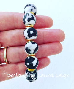 Black and White African Glass Statement Bracelet - Ginger jar