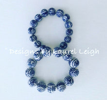 Load image into Gallery viewer, Blue and White Chinoiserie Chunky Longevity Symbol Beaded Statement Bracelet - Ginger jar